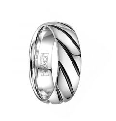 WREX Torque Black & White Cobalt Wedding Band Polished Finish Center Grooved Design Beveled by Crown Ring - 7 mm