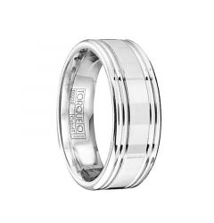 Rounded Edges Men's Cobalt Wedding Band with Polished Finish by Crown Ring - 7mm