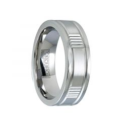 Satin Grooved Cobalt Wedding Ring with Polished Beveled Edges by Crown Ring - 7mm