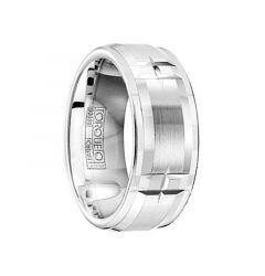 Men's Brushed & Polished Raised Center Cobalt Ring with Grooves by Crown Ring - 9mm