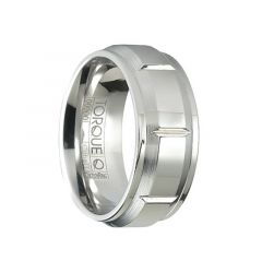 Polished Grooved Raised Center Cobalt Band with Beveled Step Edges by Crown Ring - 9mm
