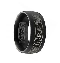 YOSHI Torque Black Cobalt Wedding Band Matte Finish Center Laser Celtic Pattern by Crown Ring - 9 mm
