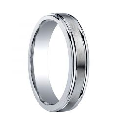 FREEPORT Slightly Domed Satin Center Silver Wedding Band by Benchmark - 5mm - 9mm