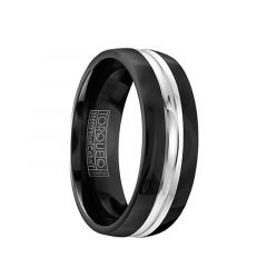 YUN Torque Black Cobalt Flat Wedding Band Polished Finish Grooved Center Design by Crown Ring - 7 mm