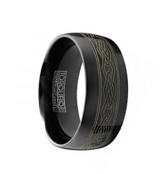 YANG Torque Black Cobalt Flat Wedding Band Polished Finish Laser Celtic Design by Crown Ring - 9mm