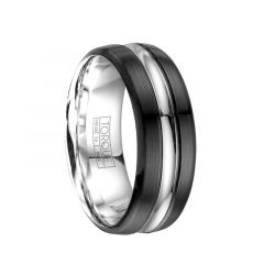 Men's Torque Black Cobalt Wedding Band Brushed Finish Center Grooved Accent by Crown Ring - 8 mm
