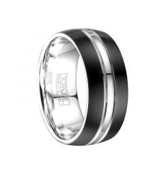 Brushed Finish Torque Black Cobalt Wedding Band Polished Center with Dual Grooved Accents by Crown Ring - 9 mm