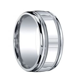 EXCELLON Extra Wide Polished Center with Dual Milgrains Silver Wedding Band by Benchmark - 10mm