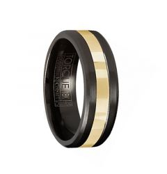 14K Yellow Gold Inlay Torque Black Cobalt Men's Wedding Band Brushed Finish Beveled Edges by Crown Ring - 7 mm