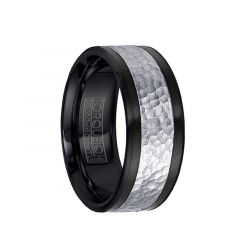 Hammered 14k White Gold Black Cobalt Men's Wedding Band by Crown Ring - 9mm