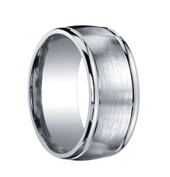 CAPSTONE Extra Wide Slightly Domed Satin Center Silver Wedding Band by Benchmark - 10mm