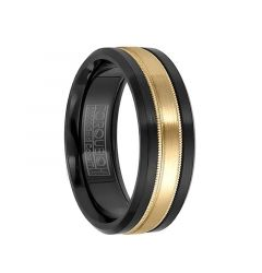14k Yellow Gold Inlaid Black Cobalt Wedding Band with Milgrain Accents by Crown Ring - 7.5mm