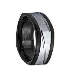 14k White Gold Inlaid Black Cobalt Soft Squared Wedding Band with Polished Grooves by Crown Ring - 9mm
