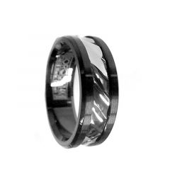 Hammered 14k White Gold Inlaid Black Cobalt Men's Wedding Ring by Crown Ring - 7.5mm