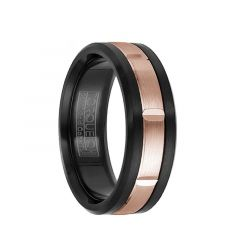 Brushed Black Cobalt & 14k Rose Gold Inlaid with Cuts Men's Wedding Ring by Crown Ring - 7.5mm