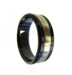 14k Yellow Gold Inlaid Black Cobalt Men's Wedding Ring with Dual Grooves by Crown Ring - 7.5mm