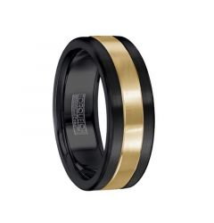 Polished 14k Yellow Gold Inlaid Black Cobalt Men's Wedding Band by Crown Ring - 7.5mm