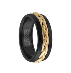 Polished Black Cobalt Men's Wedding Band with Braided 14k Yellow Gold Center by Crown Ring - 7.5mm
