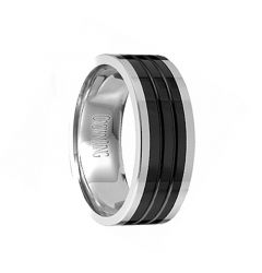 Men's Tungsten Wedding Band with Polished Ceramic Grooved Pattern Center by Crown Ring - 8mm