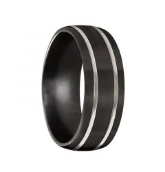 Men's Black Titanium Wedding Band Brushed Satin Finish by Crown Ring- 8mm