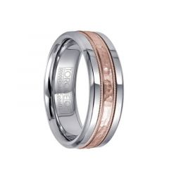 Polished White Cobalt Wedding Ring with Hammered & Milgrain 14k Rose Gold Inlay by Crown Ring - 6mm