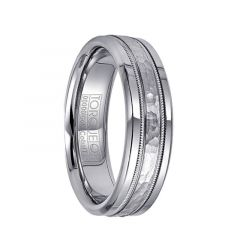 White Cobalt Ring with Hammered 14k White Gold Milgrain Inlay by Crown Ring - 6mm