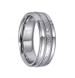 White Cobalt & 14k White Gold Men's Wedding Band with Milgrain Accents by Crown Ring - 7.5mm