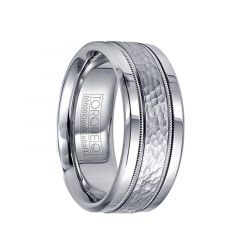 Men's Cobalt Hammered 14k White Gold Inlay & Milgrain Wedding Band by Crown Ring - 9mm