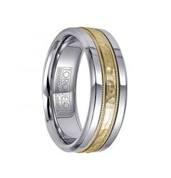 Hammered 14k Yellow Gold Inlaid Milgrain White Cobalt Men's Wedding Band by Crown Ring - 7.5mm