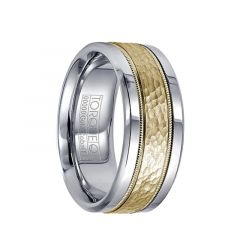 Polished White Cobalt Ring with Hammered 14k Yellow Gold Inlay & Milgrain Design by Crown Ring - 9mm