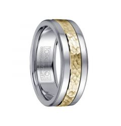 White Cobalt Men's Wedding Band with Hammered 14k Yellow Gold Inlay & Dual Grooves by Crown Ring - 7.5mm