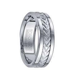Polished White Cobalt Men's Wedding Band with Grooved 14k White Gold Inlay Pattern by Crown Ring - 7.5mm