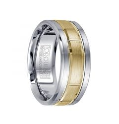 Brushed White Cobalt Men's Wedding Band 14k Yellow Gold Inlay with Grooves by Crown Ring - 9mm