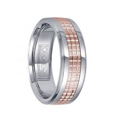 White Cobalt Men's Wedding Ring Checkered Grooved 14k Rose Gold Polished Inlay by Crown Ring - 7.5mm