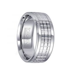 Grooved Checkered Pattern 14k White Gold & Cobalt Men's Wedding Band by Crown Ring - 9mm