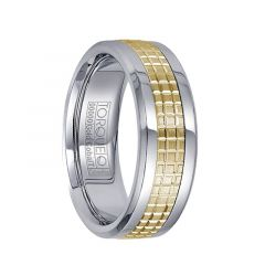Polished White Cobalt with 14K Yellow Gold Grooved Center Men's Wedding Band by Crown Ring - 7.5mm