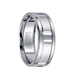 Polished Cobalt Men's Ring with Brushed & Grooved 14k White Gold Inlay & Dual Grooves by Crown Ring - 7.5mm