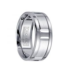 White Cobalt Men's Wedding Ring Grooved 14k White Gold Center by Crown Ring - 9mm