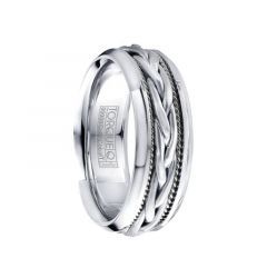 Braided Rope Center 14k White Gold Inlay & Beveled Cobalt Men's Wedding Ring by Crown Ring - 7.5mm