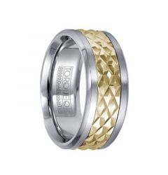 Brushed Cobalt Men's Band with Textured Diamond Pattern 14k Yellow Gold Inlay by Crown Ring - 9mm