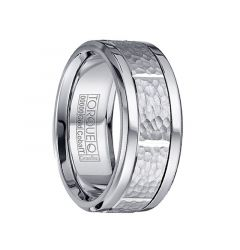 Polished Cobalt Men's Wedding Ring with Hammered 14k White Gold Inlay by Crown Ring - 9mm