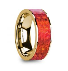 AEMBRUS Flat Polished 14K Yellow Gold with Red Opal Inlay