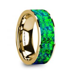 AGAPIOS Flat Polished 14K Yellow Gold with Emerald Green and Sapphire Blue Opal Inlay - 8mm
