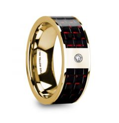 CHRISTOS Polished 14k Yellow Gold & Diamond Center Wedding Band with Black & Red Carbon Fiber Inlay - 8mm