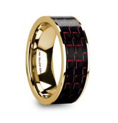 COSTA Black & Red Carbon Fiber Inlaid 14k Yellow Gold Wedding Band with Polished Finish - 8mm
