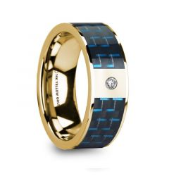 CLETUS Polished 14k Yellow Gold & Black/Blue Inlaid Carbon Fiber Men's Wedding Band with Diamond - 8mm