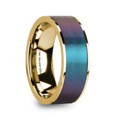 EUGEN Blue/Purple Color Changing Inlaid 14k Yellow Gold Men's Polished Wedding Ring - 8mm
