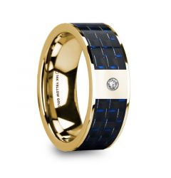 FLAVIA Men's 14k Yellow Gold Flat Wedding Ring with Diamond Center & Blue/Black Carbon Fiber Inlay - 8mm