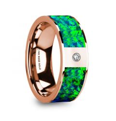 HERAKLEES Men's Polished 14k Rose Gold & Green/Blue Opal Inlay Wedding Ring with Diamond - 8mm