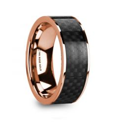 IORGOS Polished 14k Rose Gold Men's Wedding Band with Black Carbon Fiber Inlay - 8mm